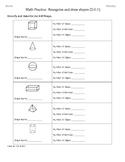 (2.G.1) 3D Shapes 2nd Grade Common Core Math Worksheets Part B