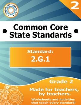 2.G.1 Second Grade Common Core Bundle - Worksheet, Activity, Poster, Assessment