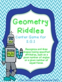2.G.1 Geometry Riddles Center Game with BONUS Enrichment Items