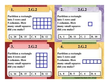 2.G.2 2nd Grade Math Task Cards - Partition a Rectangle Into Rows and Columns