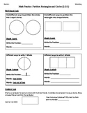 (2.G.3) Partition Rectangles & Circles - 2nd Grade Math Worksheets - 4th 9 Weeks