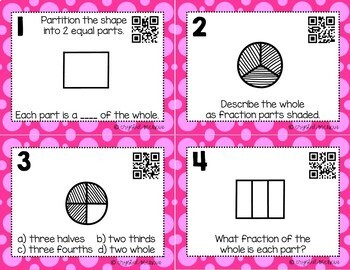 Partitioning Shapes Into 2, 3, & 4 Equal Parts *QR* MATH TASK CARDS