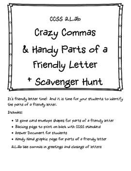 2.L.2b Crazy Commas & Handy Parts of a Friendly Letter + Scavenger Hunt Pack