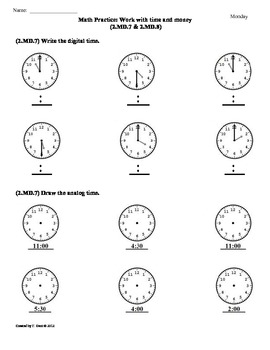 (2.MD.7 & 2.MD.8)Time & Money -2nd Grade Common Core Math Worksheets 2nd 9 Weeks