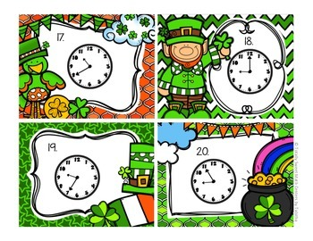 2.MD.7 St. Patricks Day Seat Scoot Class Activity- Time to the 5 minute interval