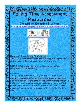 2nd & 3rd Grade Math: 2.MD.C.7/3.MD.A.1 Telling Time Quiz Resources