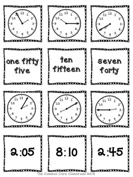 2.MD.7 - Time Concentration - 2nd Grade Math Game - Aligned to CCSS