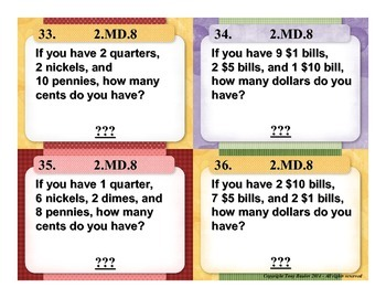 2.MD.8 2nd Grade Math Task Cards - Solve Money Word Problems