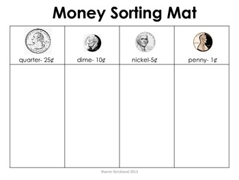 2.MD.8 Common Core Money Sorting Mat