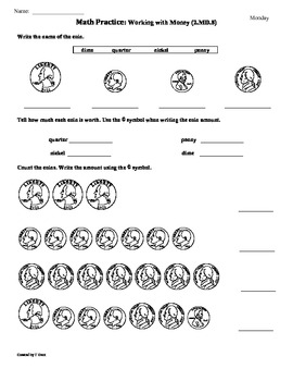 2.MD.8) Money- 2nd Grade Common Core Math Worksheets- 1st 9 Weeks