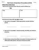 (2.MD.8)  Solving Money Word Problems - 2nd Grade Math Worksheets - 3rd 9 Weeks
