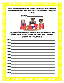 2.NBT Common Core Second Grade Math Packet