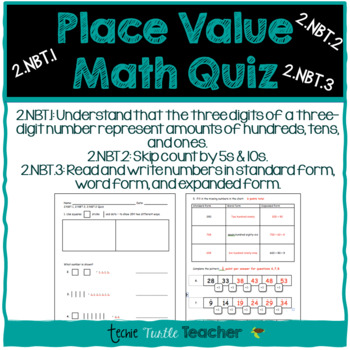 2NBT1 2NBT2 2NBT3 Math Quiz - Standard, Word, & Expanded Form, and Skip Counting