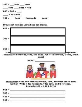 2.NBT.1 Common Core Second Grade Math Packet