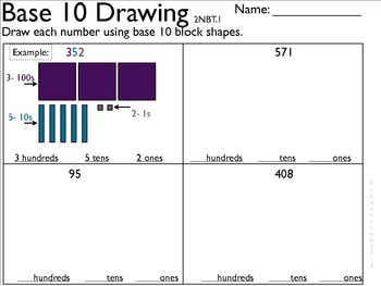 2NBT1 Student draw out numbers using Base 10 shapes
