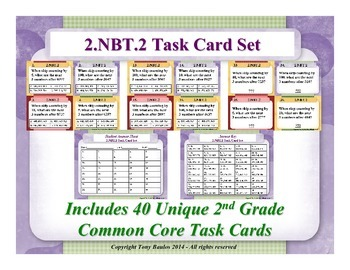 2.NBT.2 2nd Grade Math Task Cards - Place Value, Skip Coun