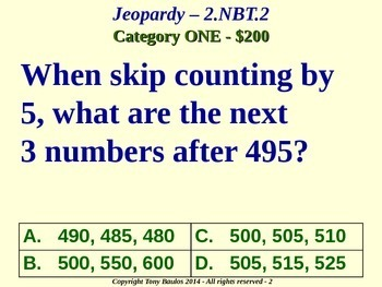 2.NBT.2 Jeopardy Game 2nd Grade Math - Place Value, Skip Count by 5, 10, 100