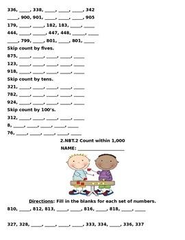 2.NBT.2 Second Grade Common Core Math Packet