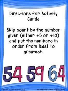 2NBT2 Skip Count by 5s, 10s Center Activities