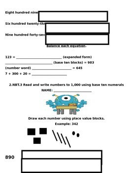 2.NBT.3 Common Core Math Packet for Second Grade
