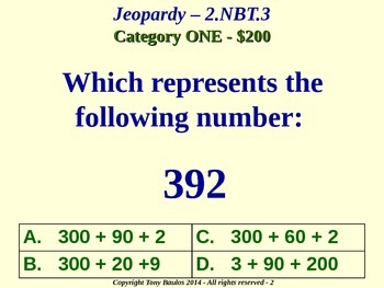 2.NBT.3 Jeopardy Game 2nd Grade Math 2 NBT.3 Read And Write Numbers To 1000