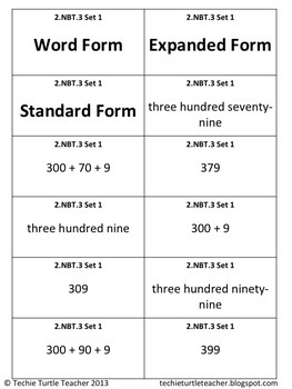 2NBT3 Matching Numbers (Word Form, Expanded Form, Standard Form) Activity