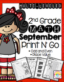 2.NBT.3 Place Value and Odd and Even Numbers (NO PREP) September Print and Go