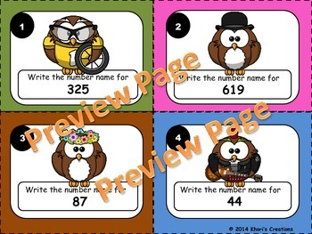 2.NBT.3 Writing Number Names to 1,000 Task Cards (Numbers in Word Form)