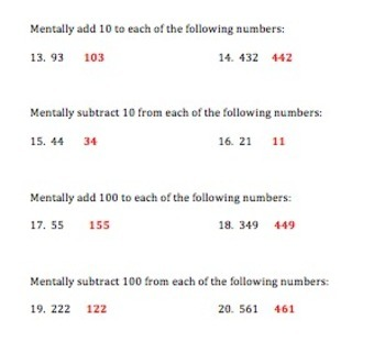 2.NBT.4 2.NBT.8 Math Quiz - Compare numbers, Mentally add or subtract 10 and 100