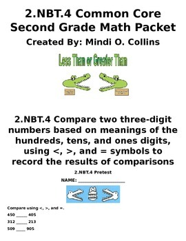 2.NBT.4 Common Core Second Grade Math Packet