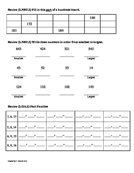 (2.NBT.4) Greater Than & Less Than -2nd Grade Math Worksheets- 2nd 9 Weeks