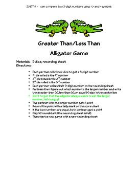 2.NBT.4 Greater Than, Less Than Alligator Game