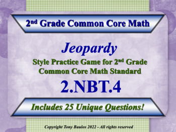2.NBT.4 Jeopardy Game 2nd Grade Math Compare Two Three-Dig