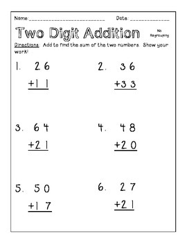 2NBT5 1NBT4 Two Digit Addition within 100
