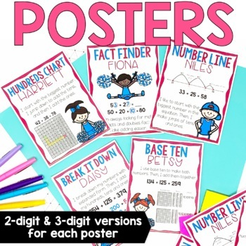 Two-Digit & Three-Digit Addition Strategies - Centers, Posters, & Printables