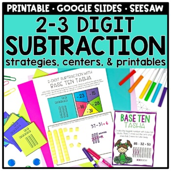 2-3 Digit Subtraction Strategies Centers and Printables | TpT