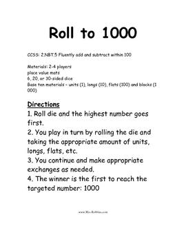 2.NBT.5 Roll to 1000 Math Station / Center Game