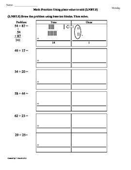 (2.NBT.5)Add & Subtract [Part1]  2nd Grade Math Practice Sheets- 2nd 9 weeks