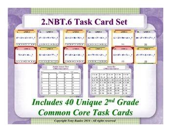 2.NBT.6 2nd Grade Math Task Cards -  2 NBT.6 Add Four Two-