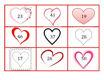 2.NBT.6 Valentines Heart Two-Digit Number Cards