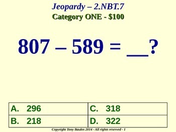 2.NBT.7 2nd Grade Math Jeopardy Game  - Add And Subtract Within 1000