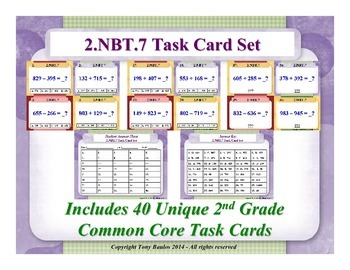 2.NBT.7 2nd Grade Math Task Cards - 2 NBT.7 Add And Subtract Within 1000