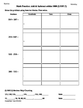 2 nbt 7 add subtract 2nd grade common core math worksheets 3rd 9 weeks. Black Bedroom Furniture Sets. Home Design Ideas