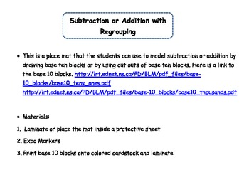 2.NBT.7 Base Ten Blocks Models for Addition or Subraction Regrouping Place Mat