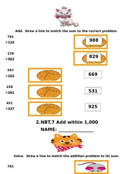 2.NBT.7 Common Core Second Grade Math Packet