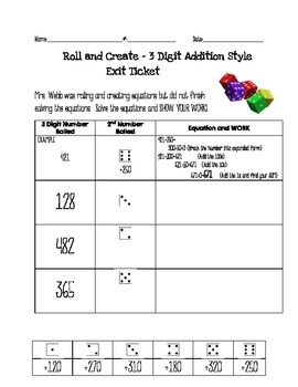 2.NBT.7 - Roll & Create 3 Digit Addition
