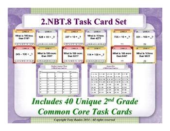 2.NBT.8 2nd Grade Math Task Cards - 2 NBT.8 Mentally Add or Subtract 10 or 100