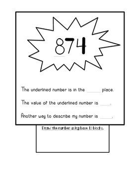 2.NBT.A.1. Three-Digit Place Value Halloween Booklet