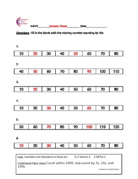 2.NBT.A.2 Second Grade Common Core Math Worksheets 2.NBT.2