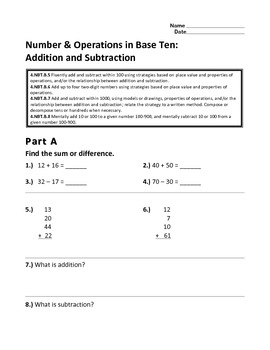 2.NBT.B.5-9 Number & Operations in Base Ten: Addition and Subtraction